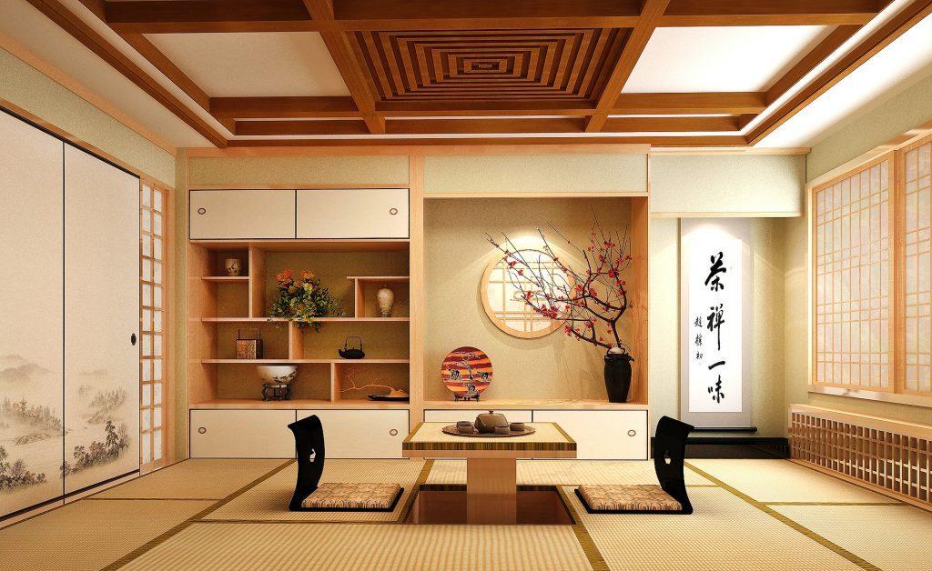 Thiết kế không gian nội thất kiểu Nhật với thảm trải sàn